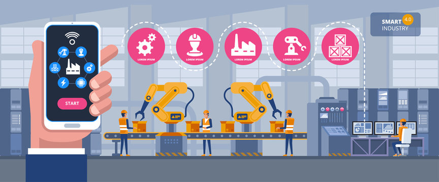 Smart industry 4.0 infographic. Man connecting with a factory using smartphone and exchanging data with a neural network. Artificial intelligence.