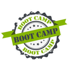 Boot camp text green color stamp.sign.seal.logo