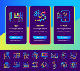 Onboarding app screens of education and e-learning icons set. Suitable for Interface UI, UX, mobile apps, websites.