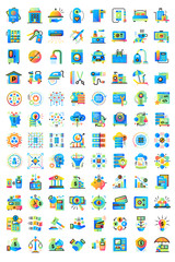Big flat icons set collection. Suitable for print, website and presentation