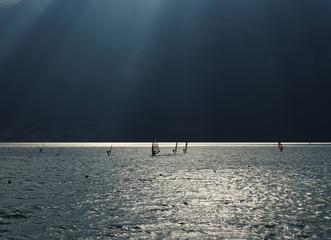 Lake with dramatic lighting