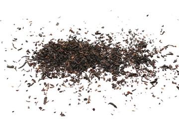 Black tea leaves isolated on white background