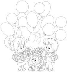 Welcome back to school. Smiling schoolchildren and a funny Schoolbag with balloons waving their hands in welcoming, black and white vector illustration in a cartoon style for a coloring book