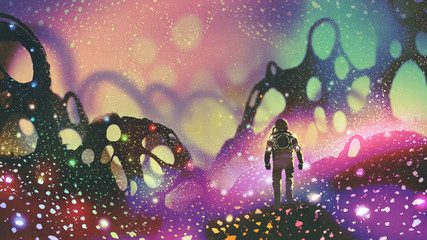 astronaut walking on the ground with glowing particles in alien planet, digital art style, illustration painting