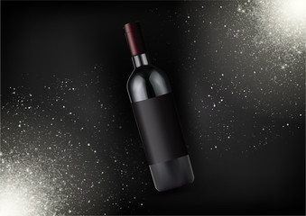 Vector realistic red wine bottle ,alcohol product.Glass bottle in photorealistic style.Isolated object,black fashion background with sparkles.