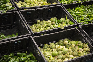 Isolated view of black plastic produce bins with tomatillos and green chili peppers