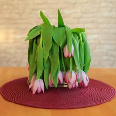 Verwelkte Tulpen in einer Blumenvase