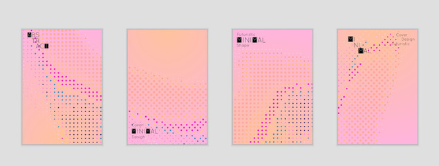 Geometric halftone gradient texture cover banner template