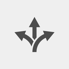 Branching arrow flat vector icon. Arrow triple flat vector icon