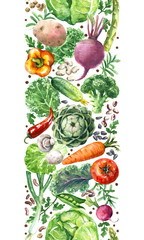 Watercolor Vegetables Vertical  Seamless Pattern