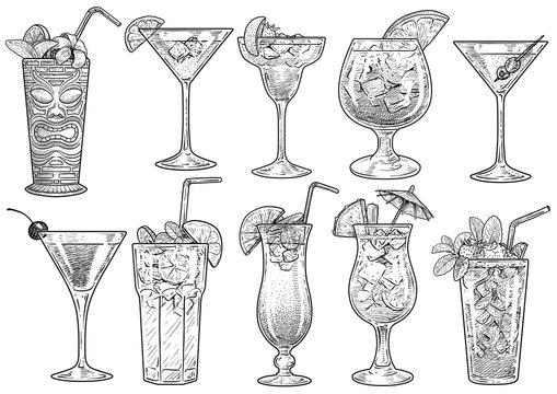 Cocktail illustration, drawing, engraving, ink, line art, vector