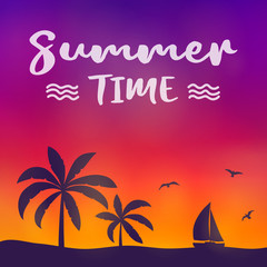 Summer paradise with palm trees - colourful banner with typography. Vector.