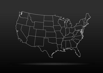USA map black dark background