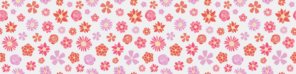 Multicoloured floral banner in retro style - seamless texture. Vector.