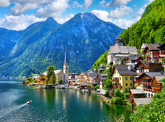 Hallstatt, Austria. View to Hallstattersee Lake and Alps Wall mural