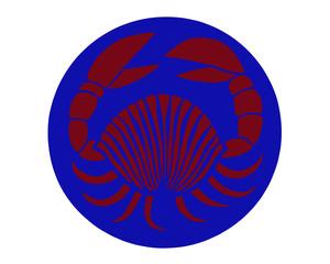 Crayfish on blue background. Colorful sketch of crayfish. Cartoon illustration of red crayfish