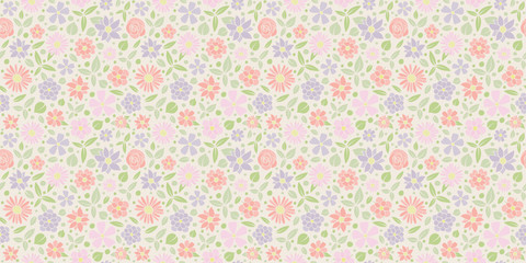 Seamless floral pattern - wrapping paper with cute hand drawn flowers. Vector..