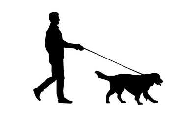 the silhouette of a man walking with his pet