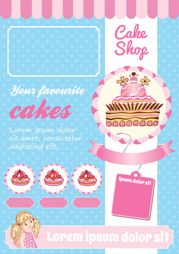 Cake and Dessert Shop Template, blue and pink vector background, cartoon illustrations