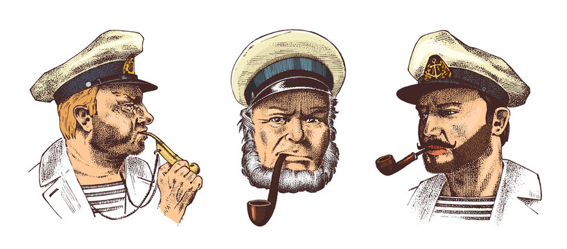 Boatswain with pipe. Portrait of a sea captain, Marine old sailor or bluejacket, whistle and seaman with beard or men seafarer. travel by ship or boat. engraved hand drawn in old vintage sketch.