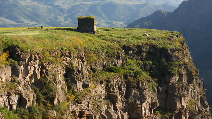 Camping next to a cliff monastery in Armenia