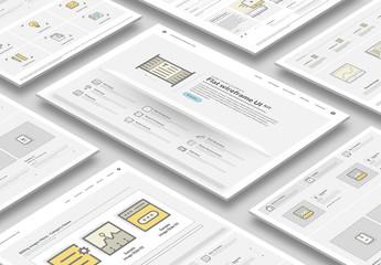 Flat Wireframe UI Layout Kit
