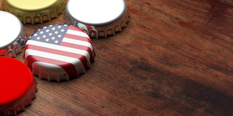 Beer cap with USA flag on wooden background, copy space. 3d illustration