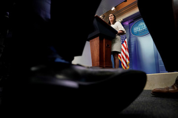 U.S. White House Press Secretary Sarah Huckabee Sanders holds the daily briefing at the White House in Washington, DC