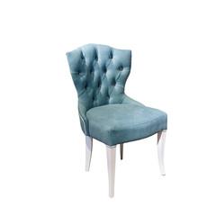 Fototapeta light blue fabric chair in chester style for elite loft interior isolated white background obraz