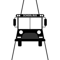 School Bus icon vector, solid illustration, pictogram isolated on white background