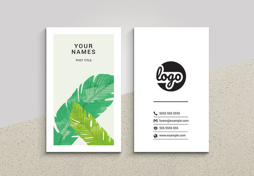Business Card Layout with Leaf Illustration