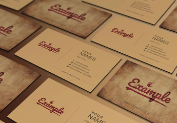 Business Card Layout with Vintage Texture