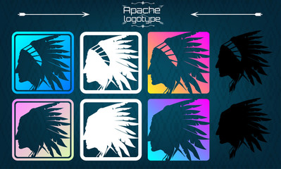 American indian logo, Apache logo. Silhouette of an American Indian, side view, 1 logo, in 8 different feeds, choose your own! Head of an Indian with a headdress, roach -  logo. set