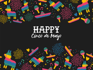 Happy Cinco de mayo mexican pattern greeting card