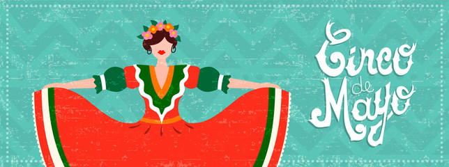 Mexican cinco de mayo web banner with dancer girl