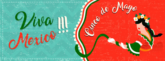 Cinco de mayo web banner with latin woman dancing
