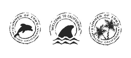 Retro california beach label stamp set for summer