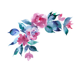watercolor composition with flowers ,branch Flowers with bud , Floral composition. Illustration, greeting card