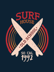 Surf board shop vintage summer typography poster
