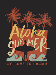 Aloha Summer surfer typography poster from hawaii