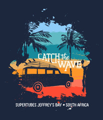 Surf summer holiday in south africa beach with car