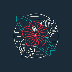 Tropical surf icon with flower in flat line style