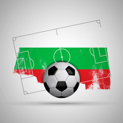 Bulgaria flag soccer background with grunge flag, football pitch and soccer ball