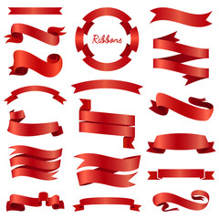 Ribbons banners, Illustration set and tape isolated on white background. red vintage details for wedding card and lettering. Decor for holiday.