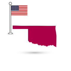 Map of the U.S. state of Oklahoma on a white background. American flag