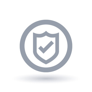 Shield tick icon. secure badge checkmark symbol. Secured website sign in circle outline. Vector illustration.