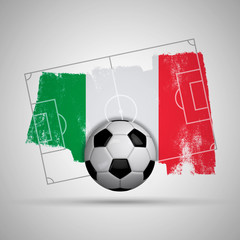 Italy flag soccer background with grunge flag, football pitch and soccer ball