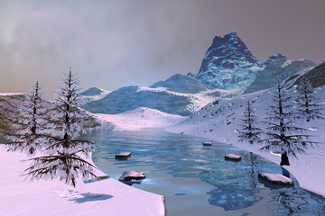 Beautiful lake, a winter landscape, snowy trees, mountains and a cloudy sky.