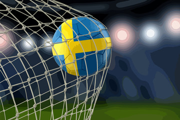Swedish soccerball in net