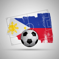 Philippines flag soccer background with grunge flag, football pitch and soccer ball